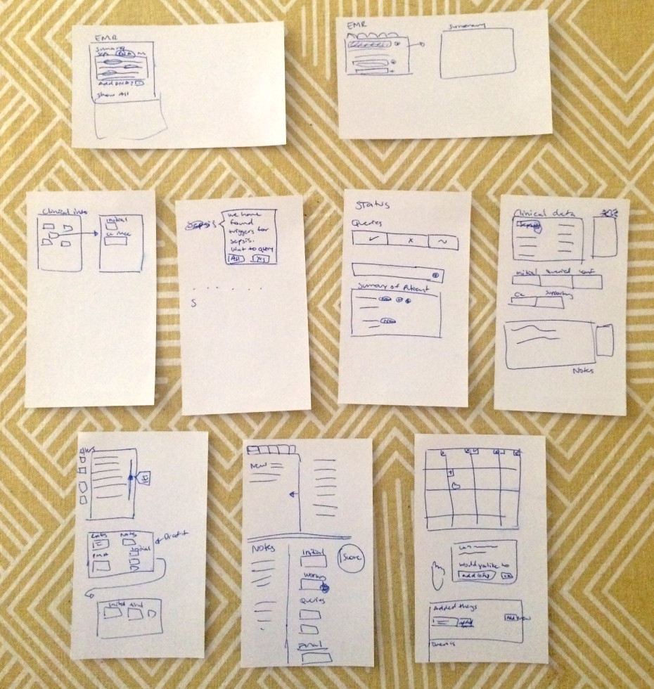 Putting the app together, each step of the workflow represented in each card.
